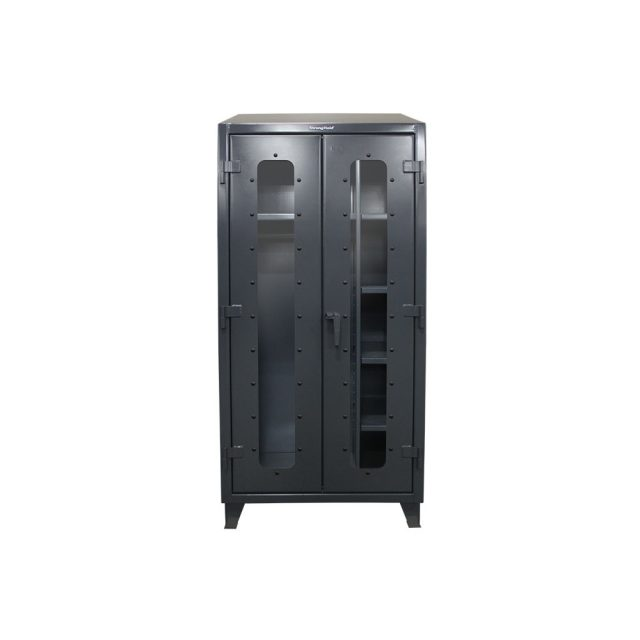 stronghold industrial uniform cabinet with see thru doors