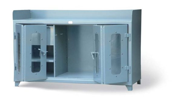 industrial workbench with clear view bi fold doors