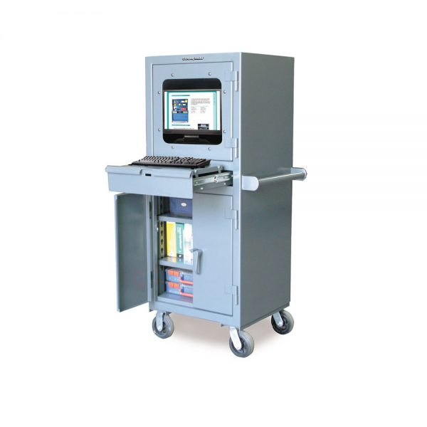 mobile industrial computer cabinet with retractable keyboard