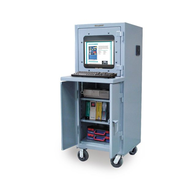 Stronghold mobile industrial computer cabinet with welded shelf