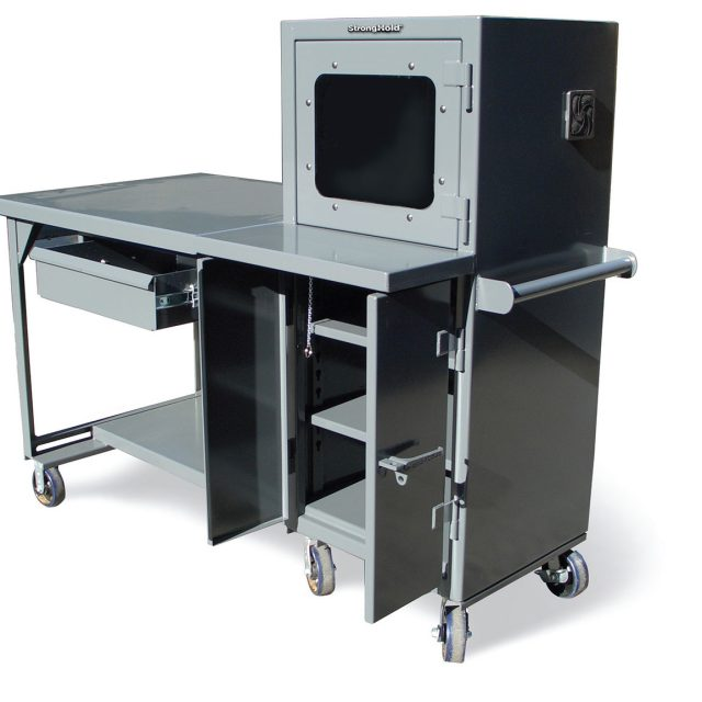 Stronghold mobile industrial computer desk with welded shelf