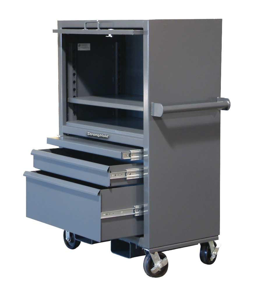 mobile job site box with slide out tray and lift up lid