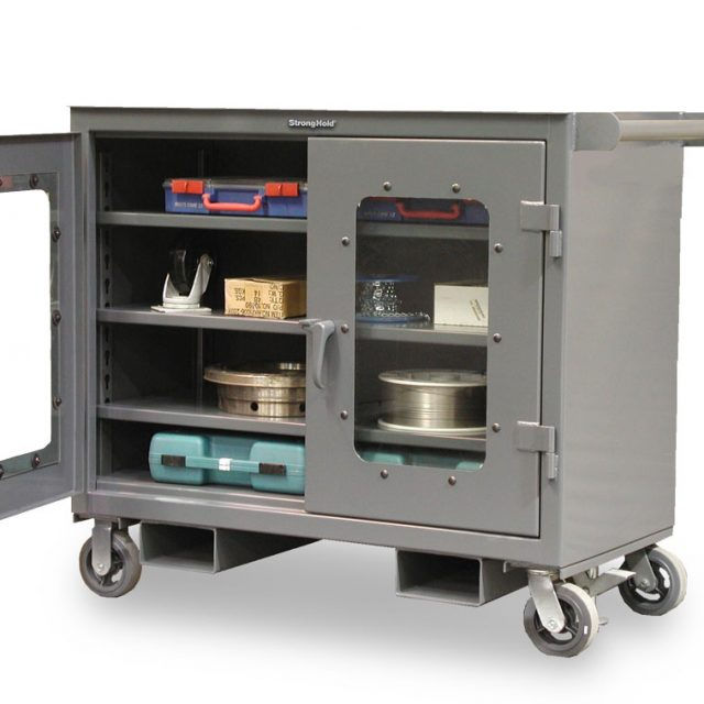 mobile tool cart with clear view doors