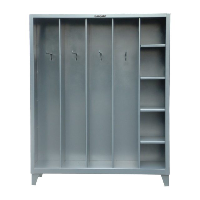 open locker with hooks and shelves