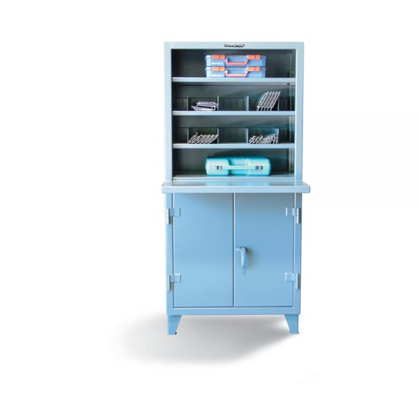 open shelving unit with lockable storage