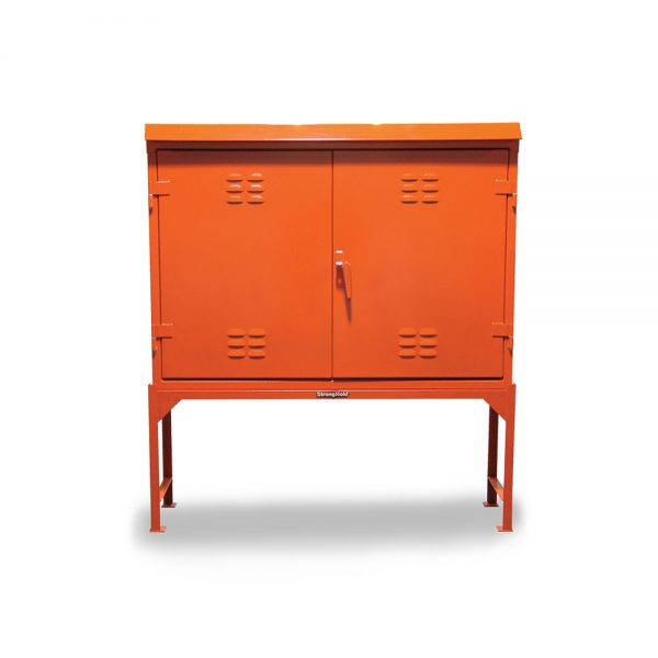 outdoor storage cabinet with angle frame base