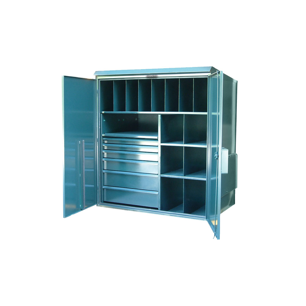 outdoor storage cabinet with multiple compartments