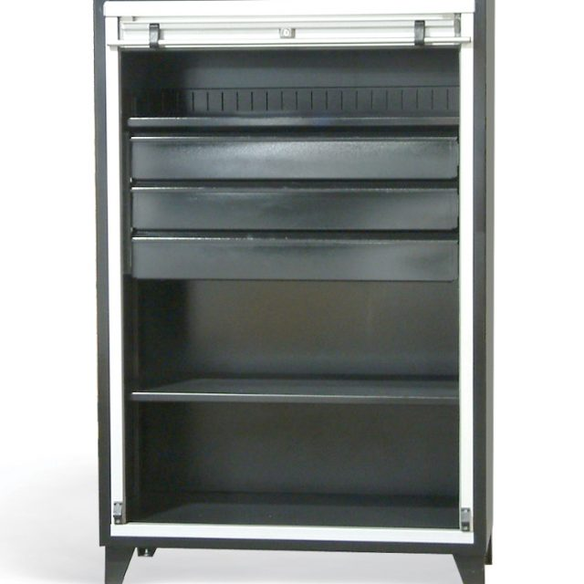 roll up door cabinet with drawers