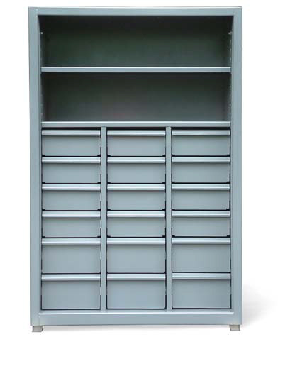 shelving unit with 18 drawers