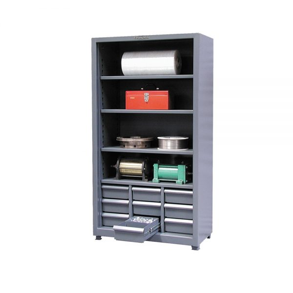 shelving unit with 9 drawers