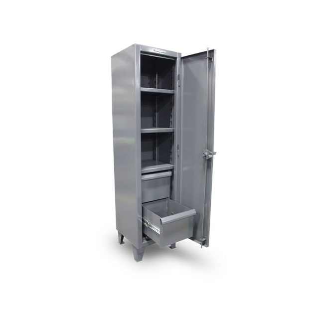 single tier industrial locker with two drawers