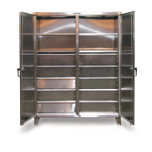 Stronghold stainless steel double shift cabinet with drawers