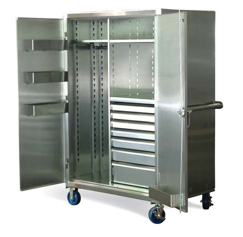 stainless steel mobile uniform cabinet with drawers