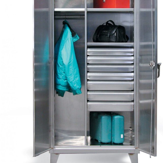 stainless steel uniform cabinet with drawers