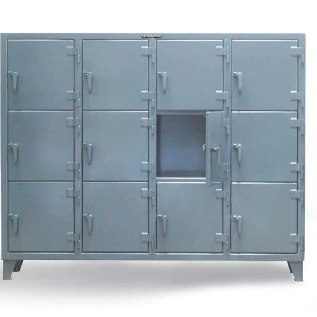 triple tier industrial locker with multiple compartments
