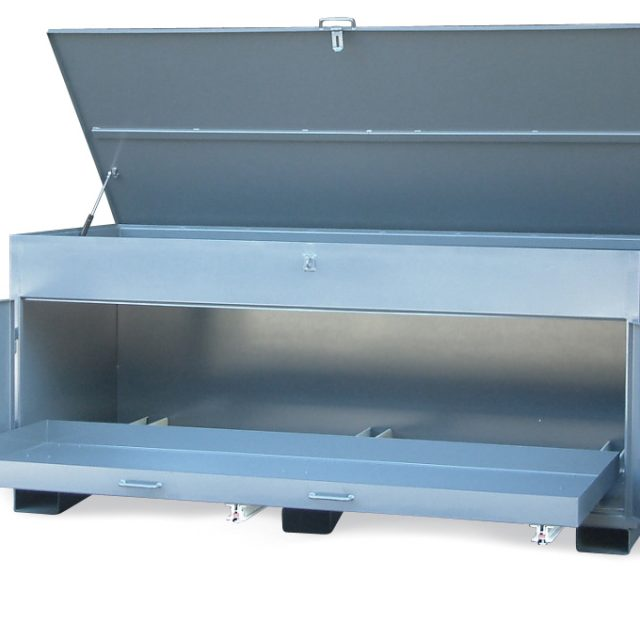utility job box with slide out bottom tray