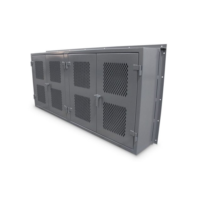 Wall mounted industrial cabinet with ventilated doors and pegboard