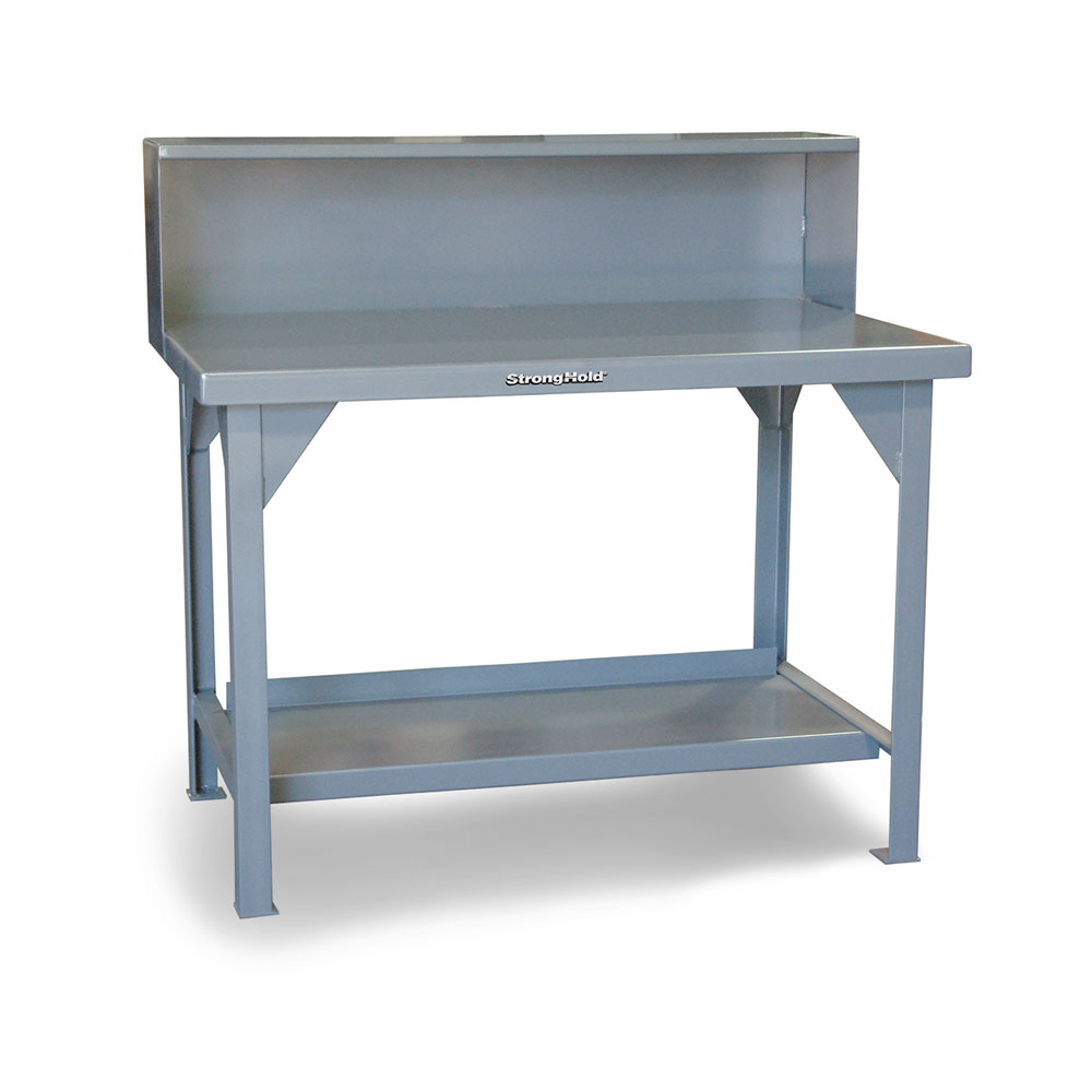 industrial shop table with riser shelf