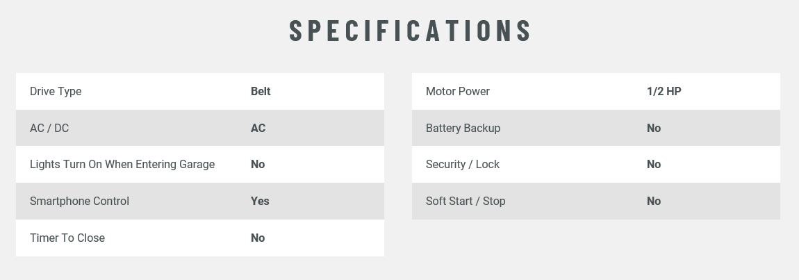 Liftmaster 8355W Garage Door Opener Specifications