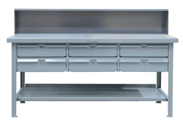 Stronghold Industrial Shop Table with 6 Drawers