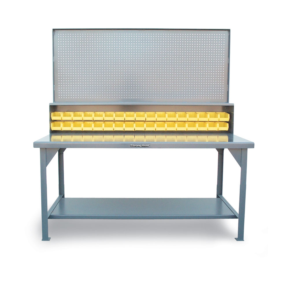 Stronghold Industrial Shop Table with Pegboard Wall and Bins