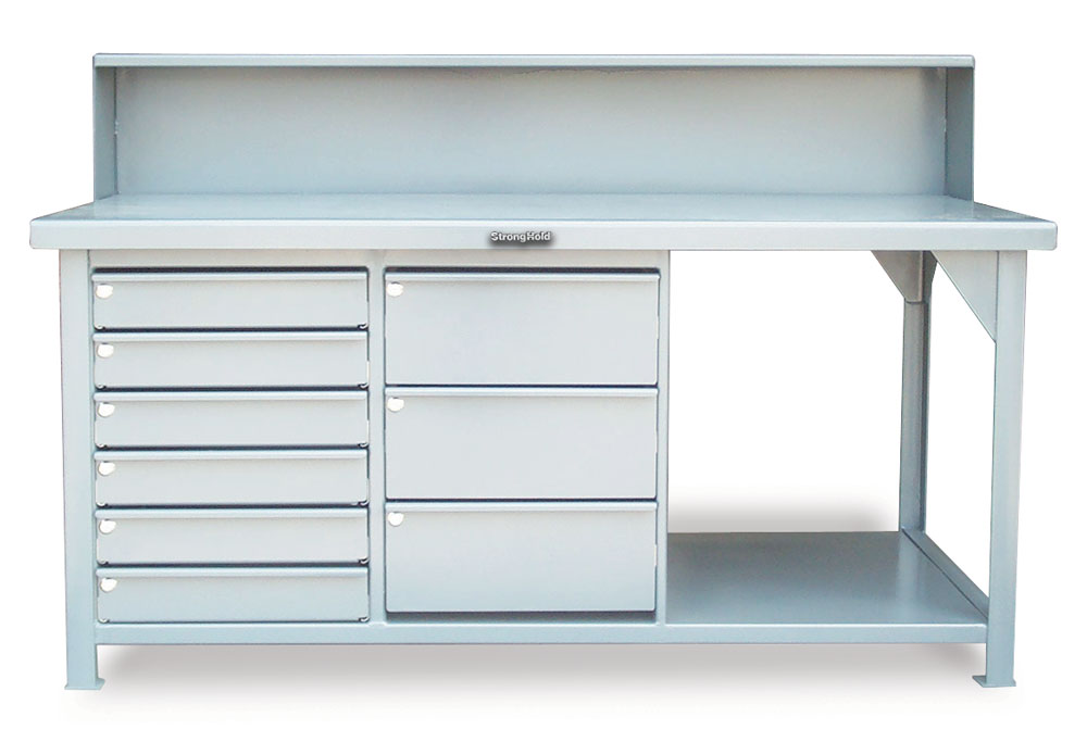 Stronghold Industrial Table with 9 Key Lock Drawers