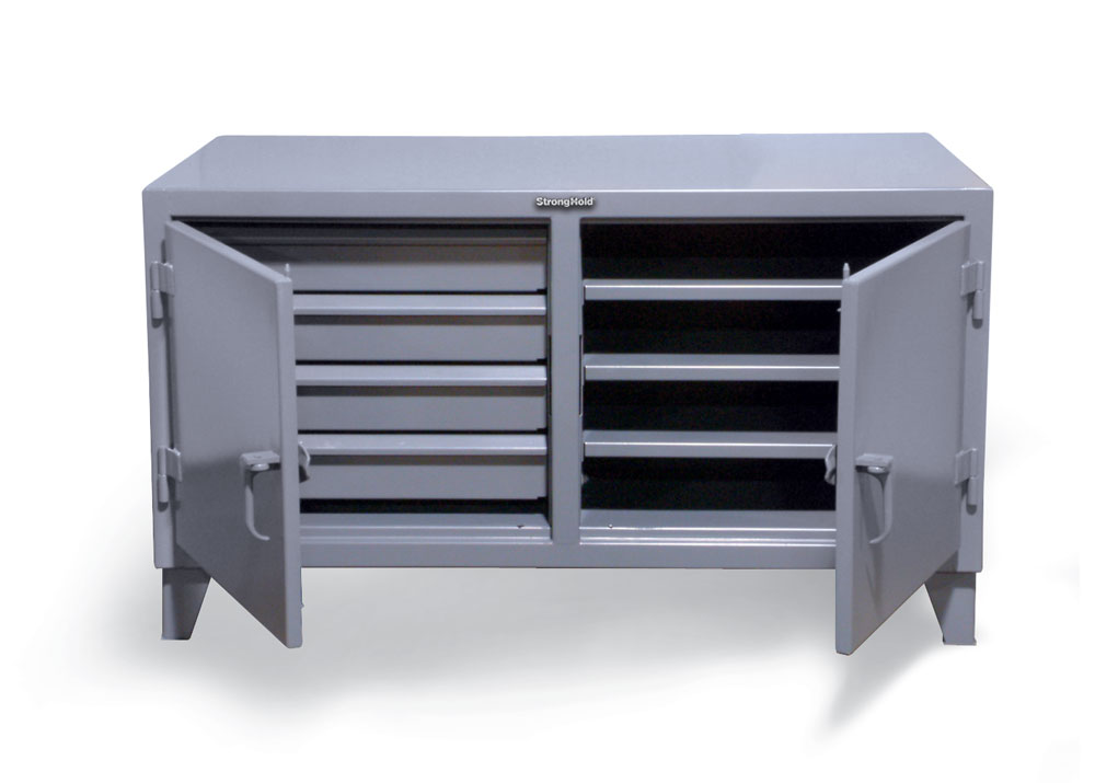 counter height workbench with lockable drawer storage