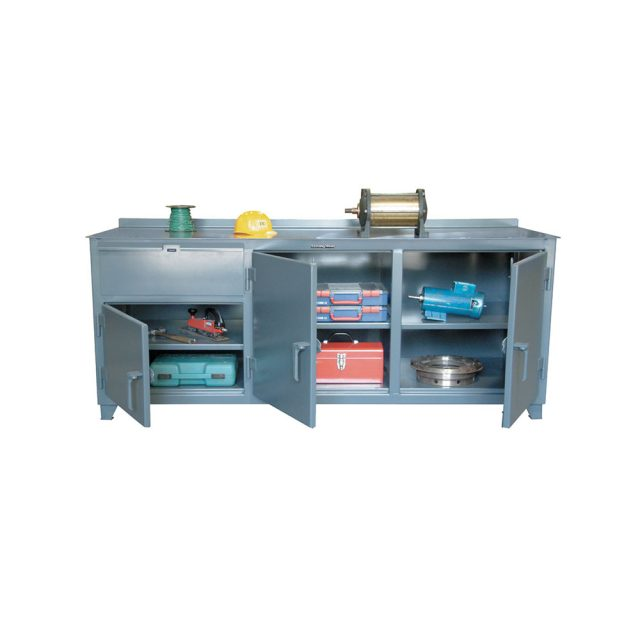 counter height workbench with storage compartments