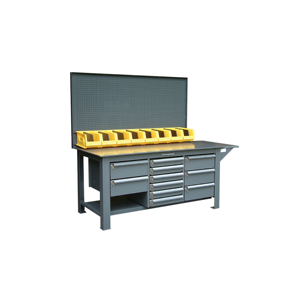 Stronghold Industrial Workbench with Pegboard, Bins, and 11 Key-Lock Drawers