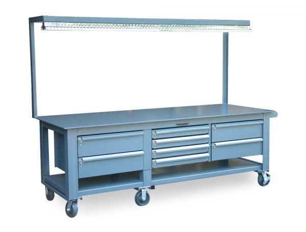 Mobile Workbench with 8 Key-Lock Drawers and Light
