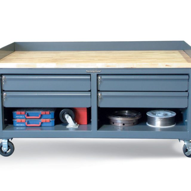 Stronghold Mobile Workbench with Key-Lock Drawers and Maple Top