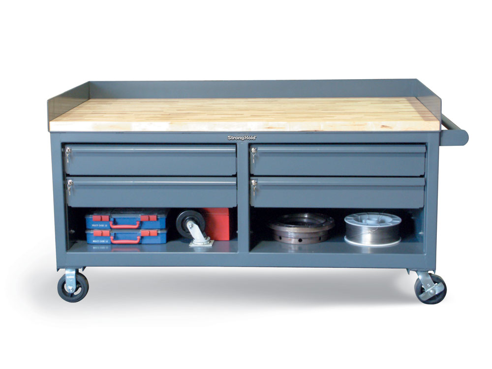 Mobile Workbench with Key-Lock Drawers and Maple Top