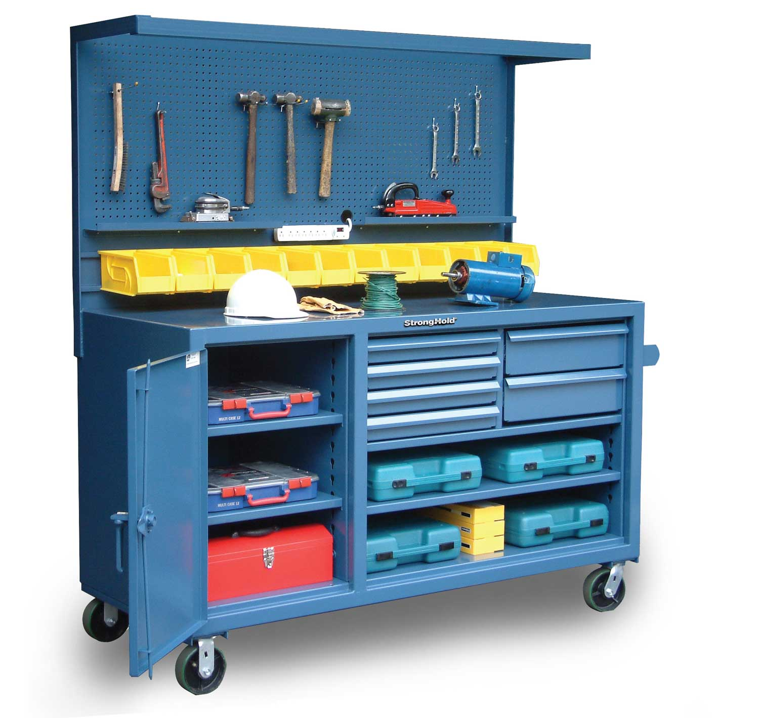 Stronghold mobile workbench with pegboard bins and dividers