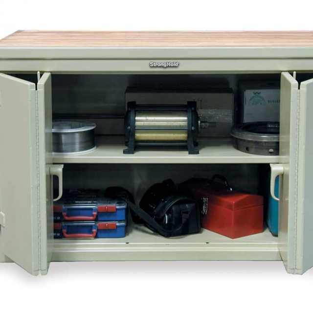 workbench with maple top and bi fold doors