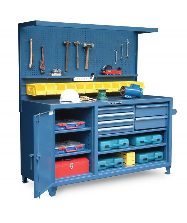 Stronghold workbench with pegboard bins and dividers