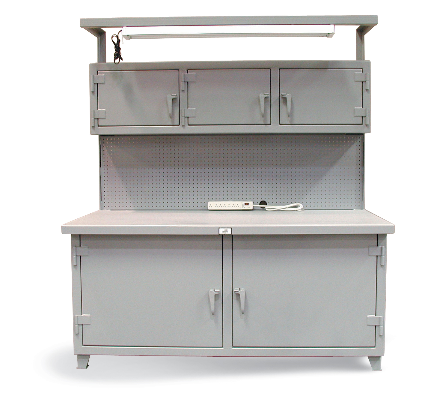 Workbench With Pegboard Lockable Compartments And Light