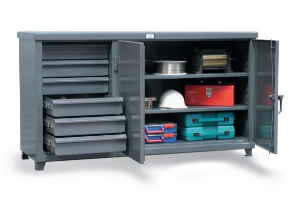 workbench with steel top and 6 drawers