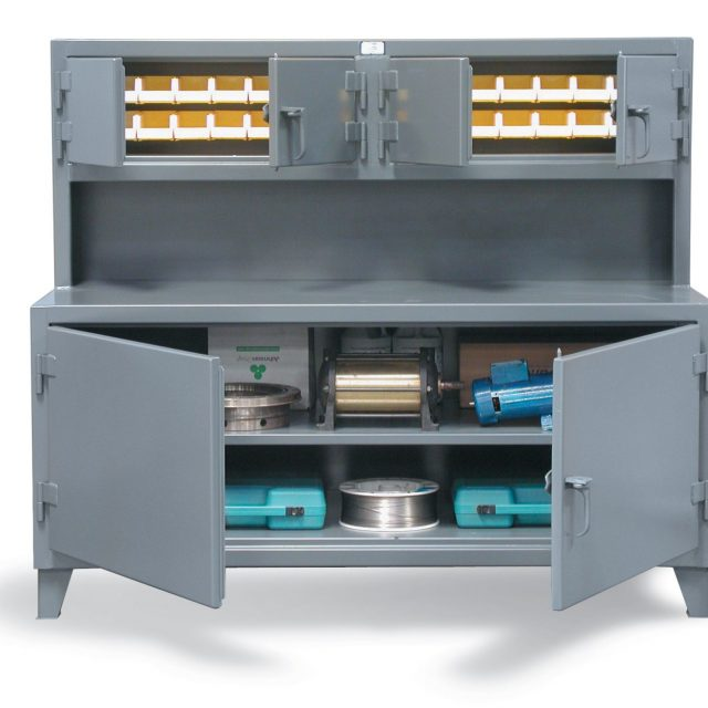 Workbench with Upper Bin Compartments