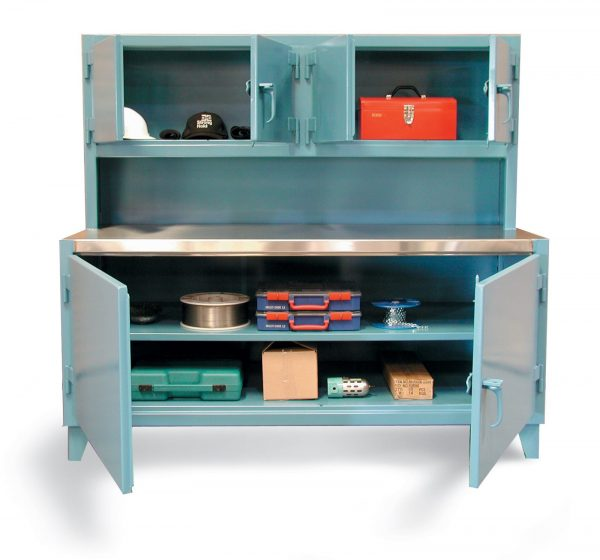 Stronghold Workbench with Upper Compartment and Stainless Steel Top