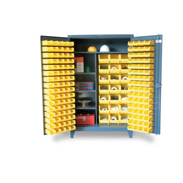 Bin Storage Cabinet with Half-Width Shelves