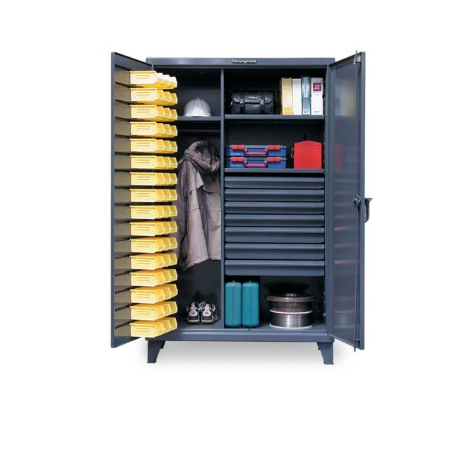 Industrial Uniform Cabinet with Bin Storage and 7 Drawers