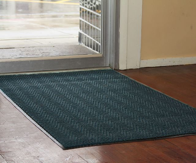 Chevron Carpeting inside storefront