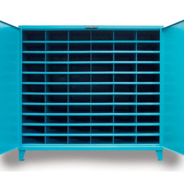 Wide Industrial Bin Cabinet with 66 Openings