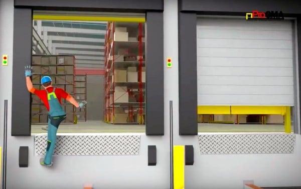 worker falling off loading dock