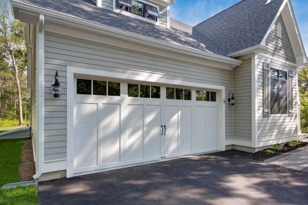 Residential white garage door front view