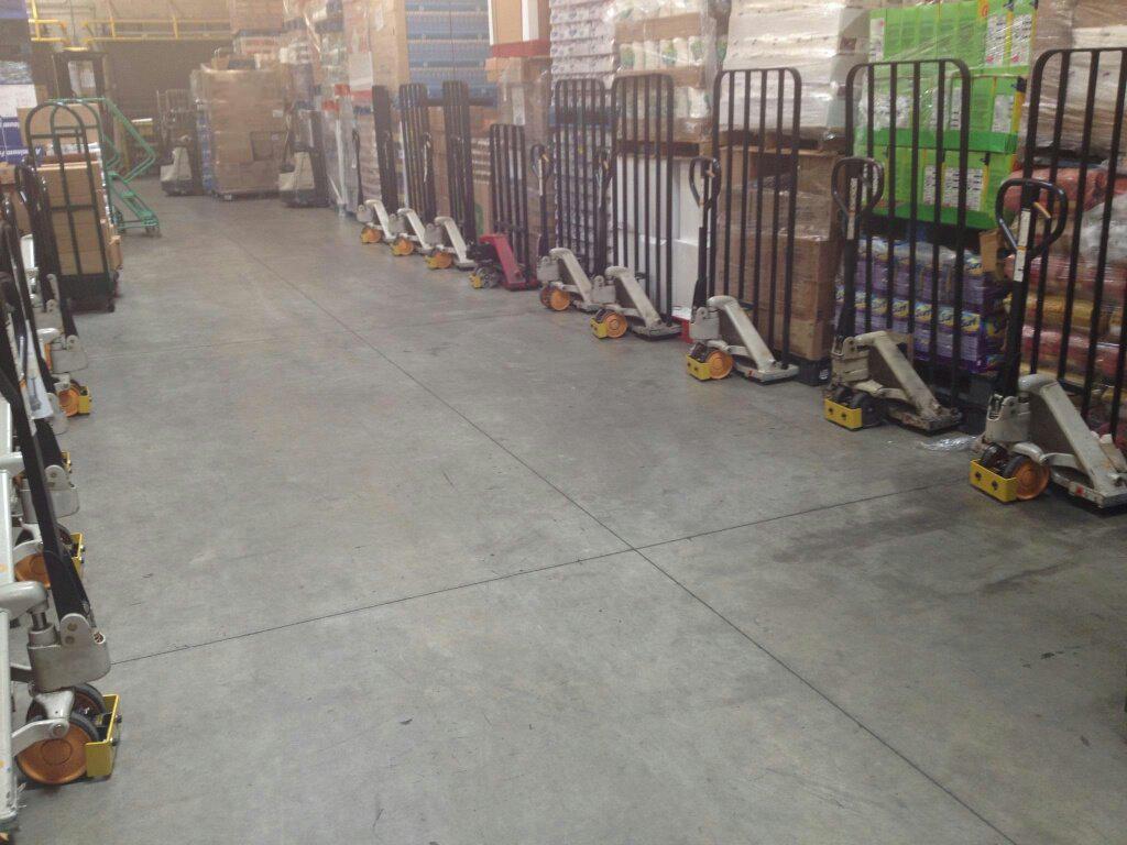 Row of Foot Guardian Pallet Jacks
