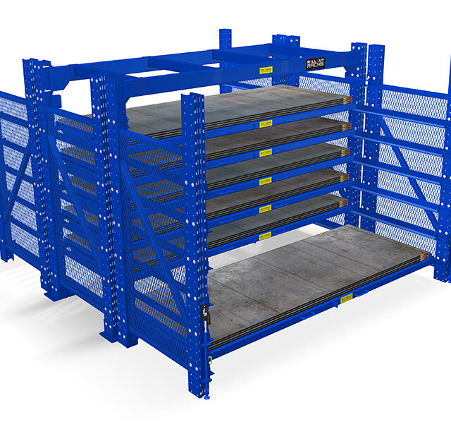 2 sided roll out sheet rack with bottom shelf rolled out