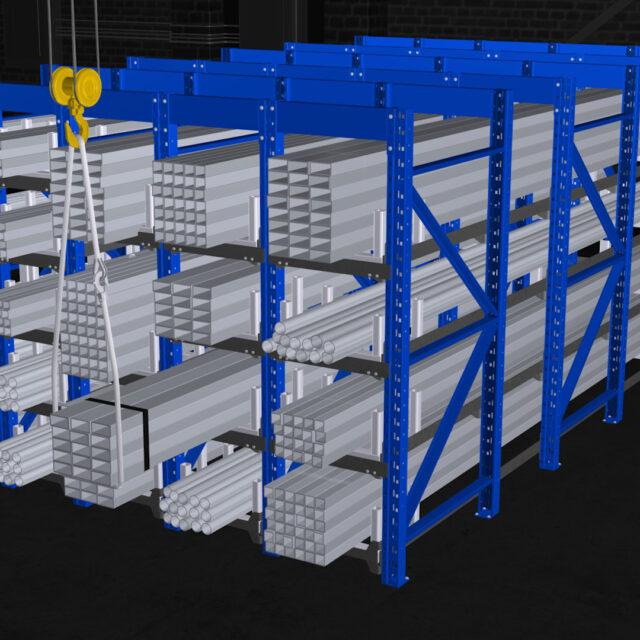 HONEYCOMB rack side angle view with crane